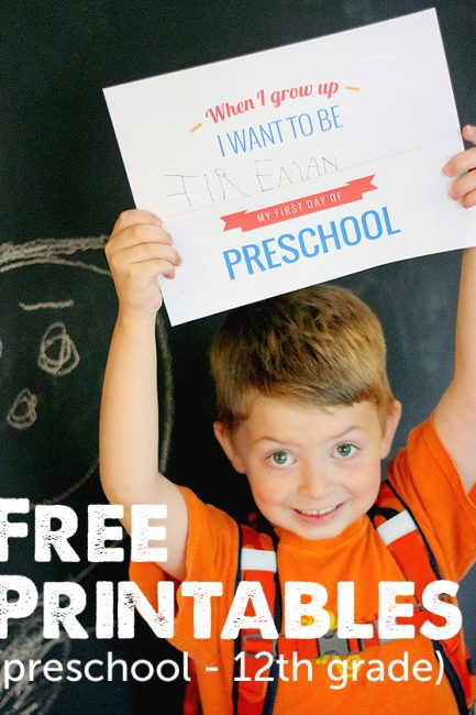 "Free Printable: 1st Day of School Signs for grades kindergarten to 12th grade. Love the ""What I want to be when I grow up"" section!"