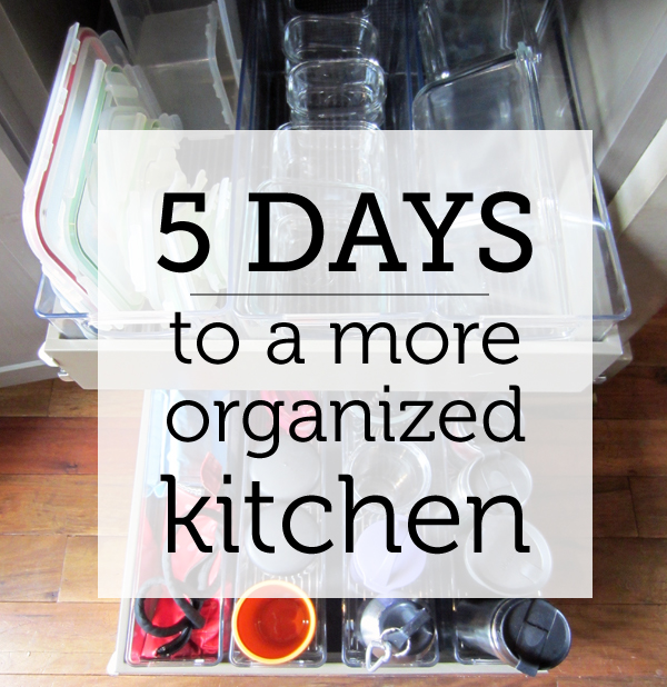 Decluttering your kitchen made easy! Five small projects, each one of which you can do in a day.