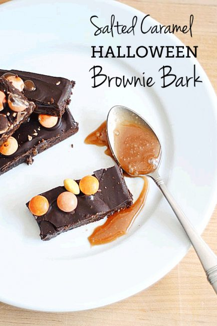 "Salted Caramel Brownie Bark (for ""Booing"" the Neighbors)"