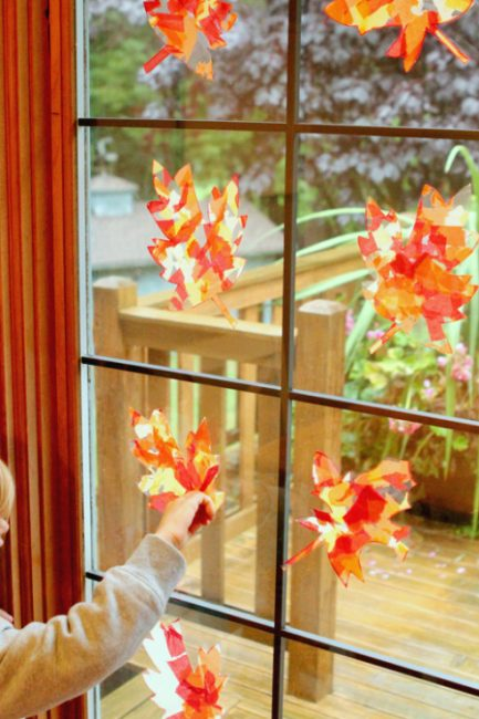 Kid Craft: Tissue Paper Fall Leaf Sun Catchers