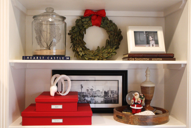 Great ideas for how to make your holiday decor do double duty as storage.