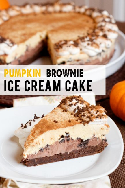 Make Ahead Thanksgiving Dessert: Pumpkin Brownie Ice Cream Cake