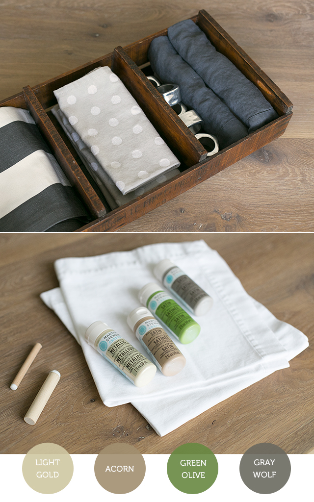 DIY Stamped Napkin Project for Kids: A great way to involve your kids in holiday table decor this Thanksgiving or Christmas.