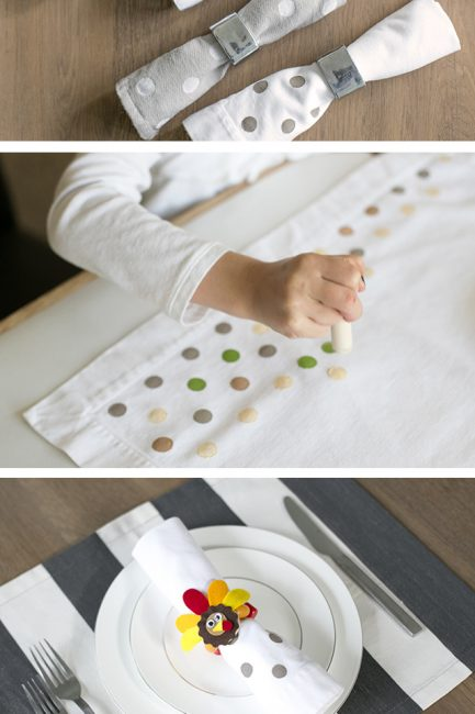 Kid-Friendly DIY Holiday Decor: Stamped Napkins