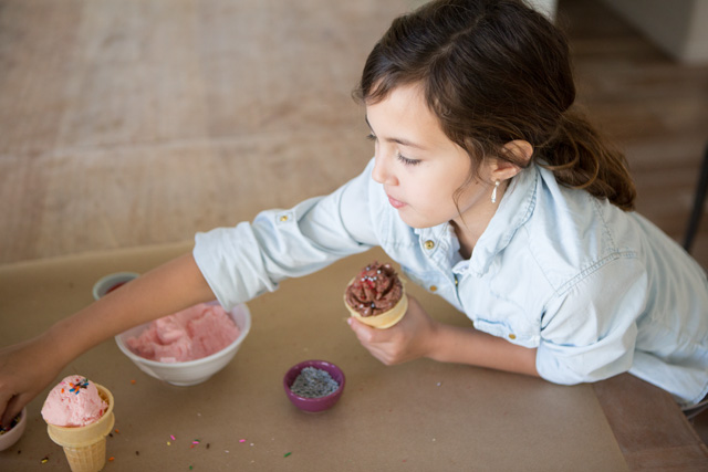 Ice Cream Play Dough. This amazing play dough looks, feels, (and smells) just like real ice cream BUT DOESN'T MELT - such a fun activity for birthday parties or other special occasions!