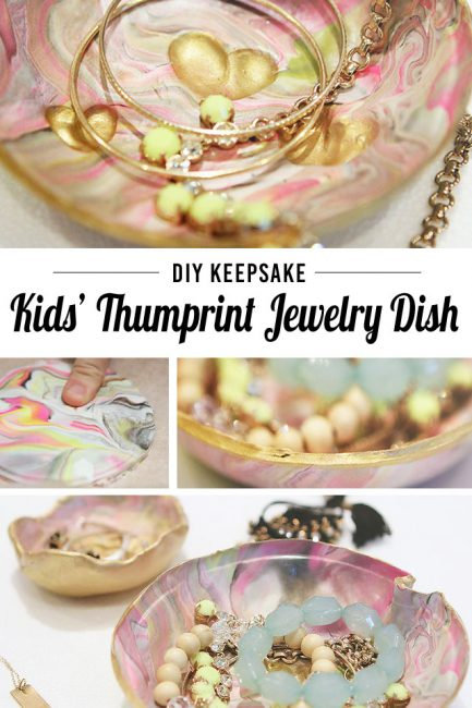 DIY jewelry dish with kids' fingerprint hearts - SUCH a sweet gift, I want one!
