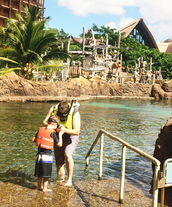 The kid-friendly man made snorkeling reef at Disney's Aulani Resort and Spa in Hawaii