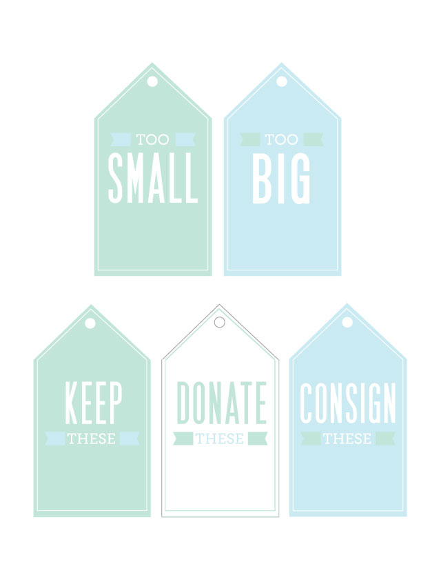 "Free printables: clothing orgainzation labels - keeping the ""too big"" and ""too small"" baskets in each of my kids' closets and the donate/consign/keep in our laundry room for easy access."
