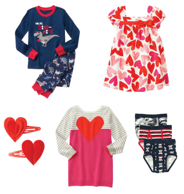 Valentine's Day clothes for girls and boys.
