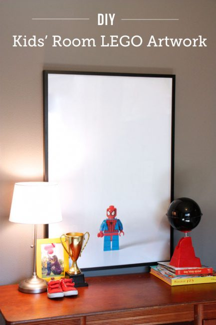 DIY LEGO artwork for kids' rooms - such a cool way to feature what your child is excited about in their room and they can help with the whole process. Going to do this with my daughter's favorite dolls too!
