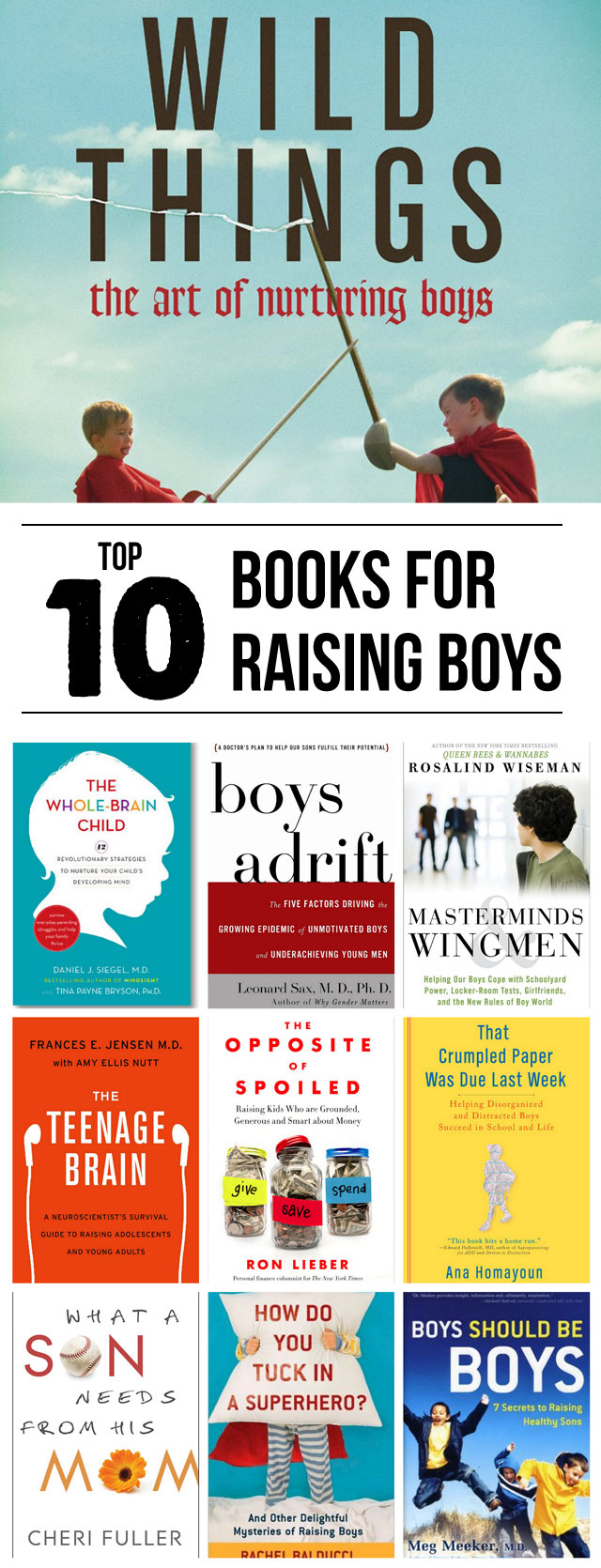 Top 10 Books for Parenting Boys - This is such a great list, #3 and #5 are going on my audiobooks list!