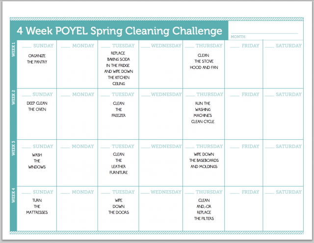 Free printable: an easy-to-follow 4 week spring cleaning challenge to get all those tasks done that only need to be addressed once every 3 months or so.