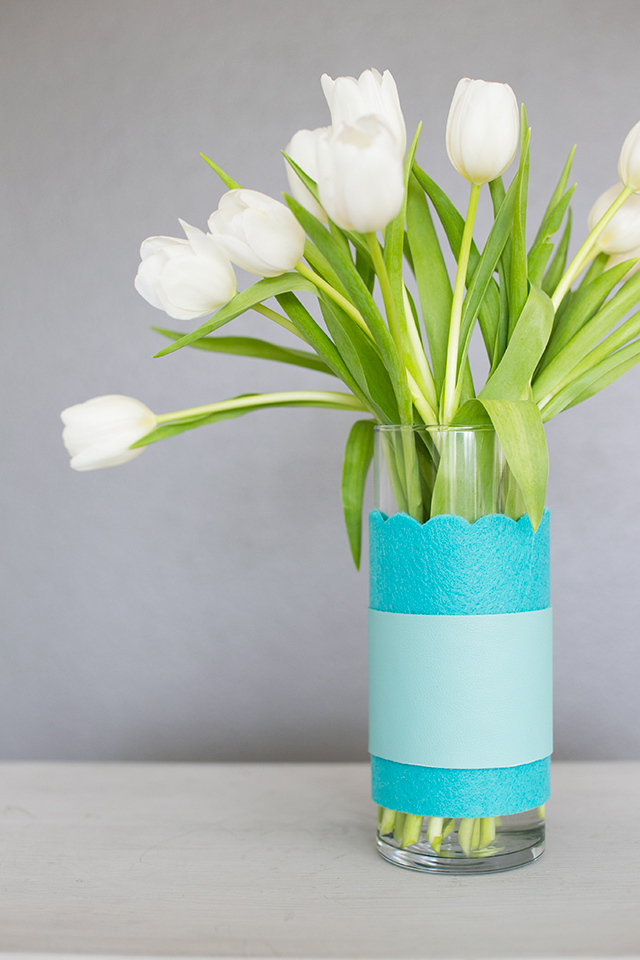 Diy easter centerpiece leather and felt colorblock vases