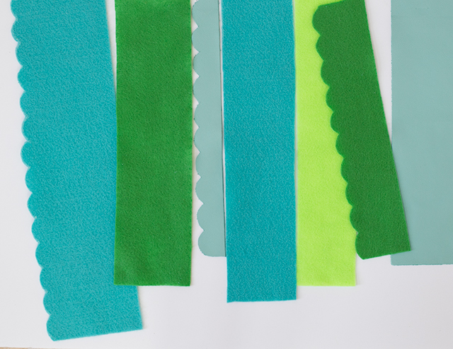 Materials: Spring-hued felt and leather.