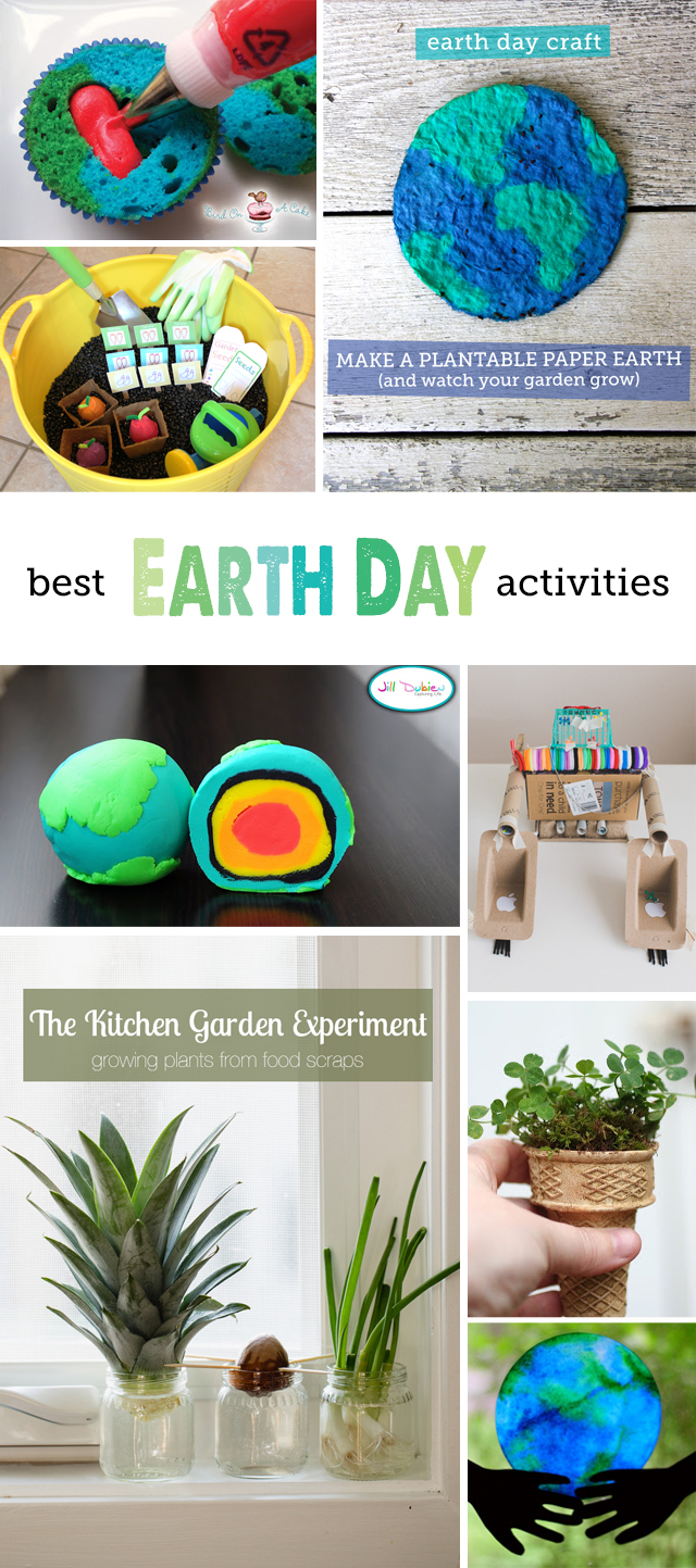 The Best Earth Day Activities and Recipes - Lots of great, do-able ideas here, we're going to do the seed starters in ice cream cones as well as the plantable paper Earth!