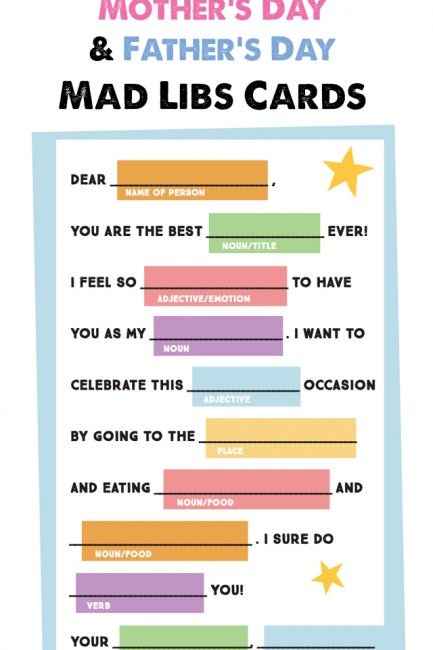 Free Printable: Mother's Day (and Father's Day) Mad Libs Card