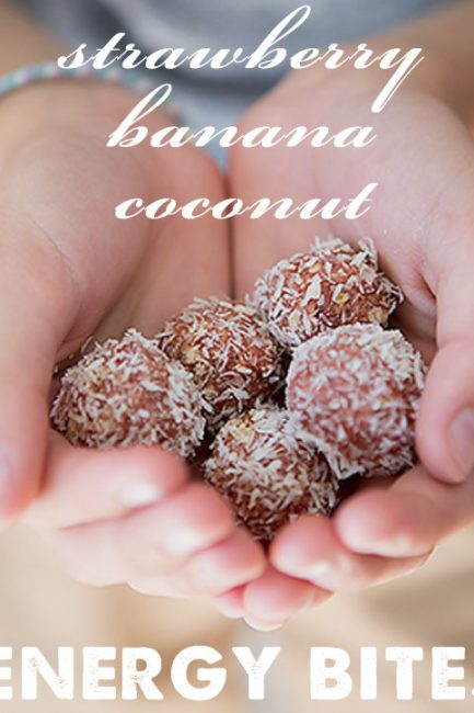 Strawberry Banana Coconut Energy Bites - great healthy snack for kids, there's even some sweet potato hidden in there too. #sponsored
