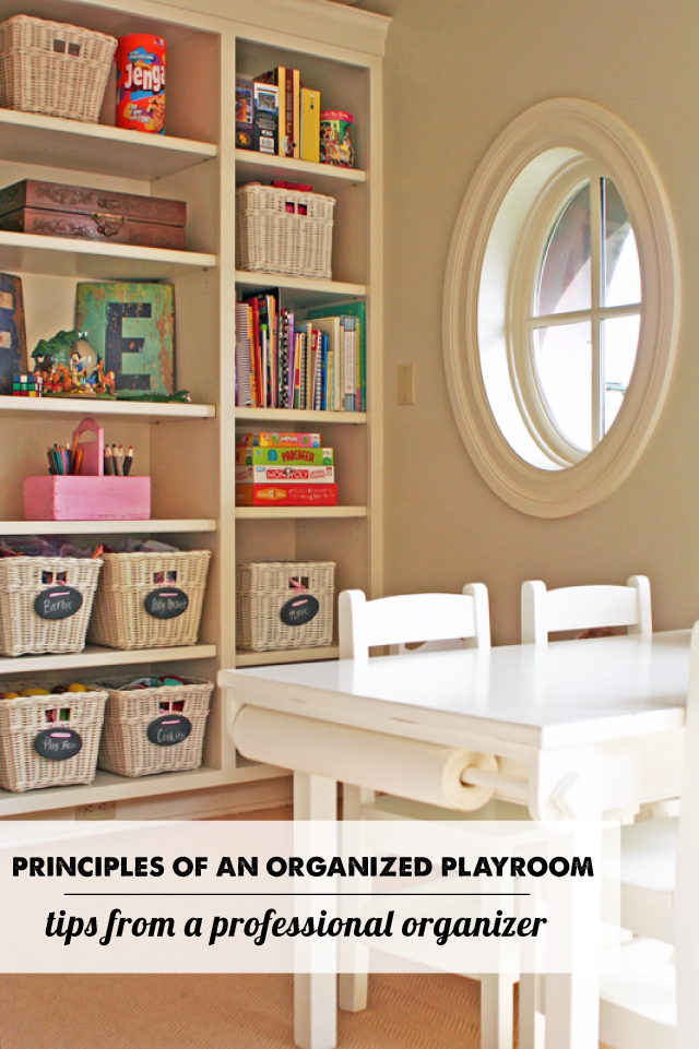 Principals of an organized play room from a professional organizer - Iots of good tips and love the color system idea!