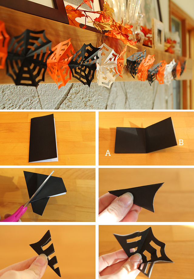 Diy halloween decor how to make origami spiderweb garlands for How to make homemade halloween decorations