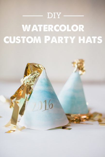 DIY Party Hats - Totally making these watercolor New Year's Eve hats with the kids this year!