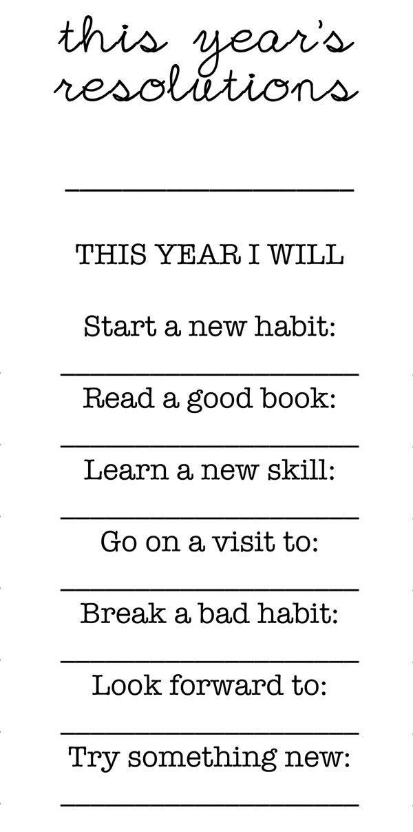 Free New Year 39 S Resolutions Printable Great Activity For Families ...
