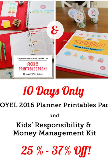2016 Planner & Kid's Responsibility Printables New Year's Sale!