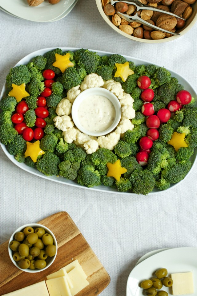 Joy Veggie Tray for the holiday - healthy, easy, and SO impressive!