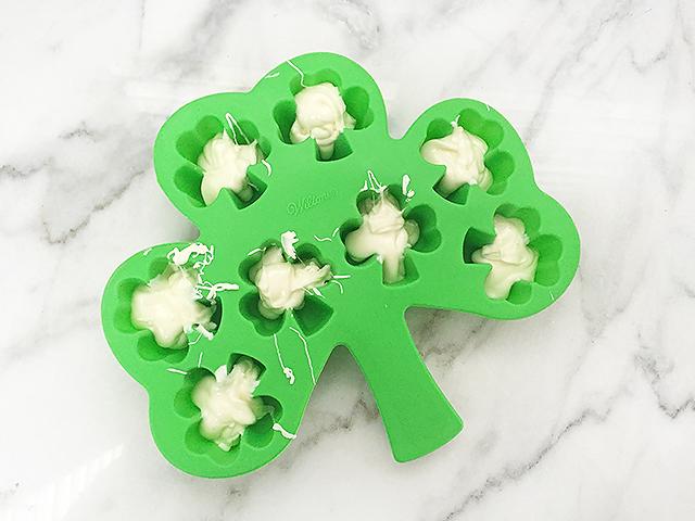St. Patrick's Day dessert, kid friendly recipes, St. Patrick's Day treat, white chocolate shamrocks