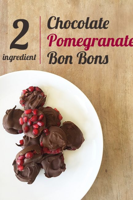 Chocolate pomegranate bon bon recipe- only two ingredients and even a clean eating recipe. I love this!
