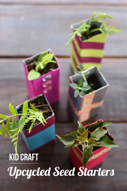 Easy Earth Day activity for the kids - DIY seed starter planters made from upcycled juice boxes. My kids loved these!
