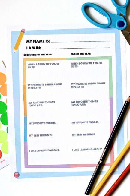Free Printable: First and Last Day of School Questionnaire