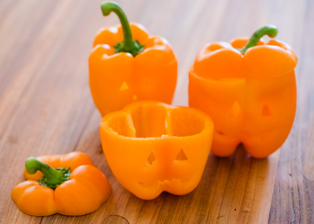 Jack-o-Lantern Stuffed Peppers make the very best Halloween dinner - quick, easy, and healthy!