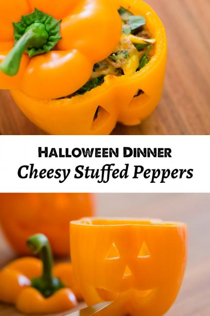 Halloween Dinner the Kids Will Love: Jack-o-Lantern Stuffed Peppers