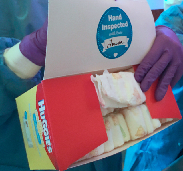 hand inspected micro-preemie diapers from Huggies!