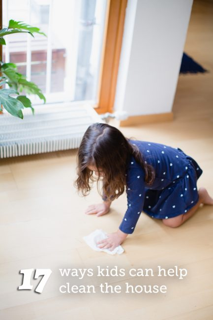 Chores for Young Kids - 17 Ways kid can help clean the house using simple baby wipes. #spon
