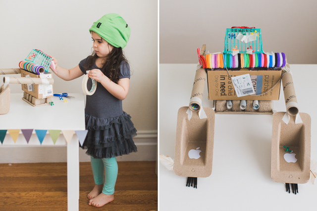 "Use upcycled materials to create an ""inventors box"" for hours of open-ended play"
