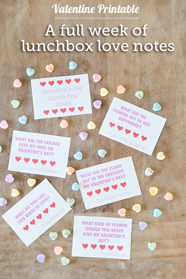 Free Printable A Week S Worth Of Valentine Lunchbox Jokes